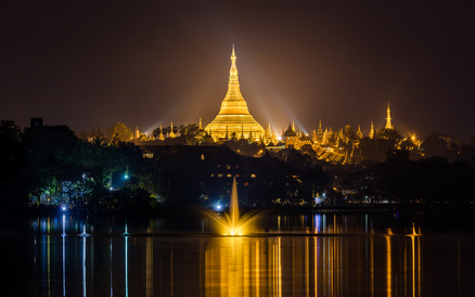Shwedagon pagoda with lake reflection at night, Yangon,Myanmar